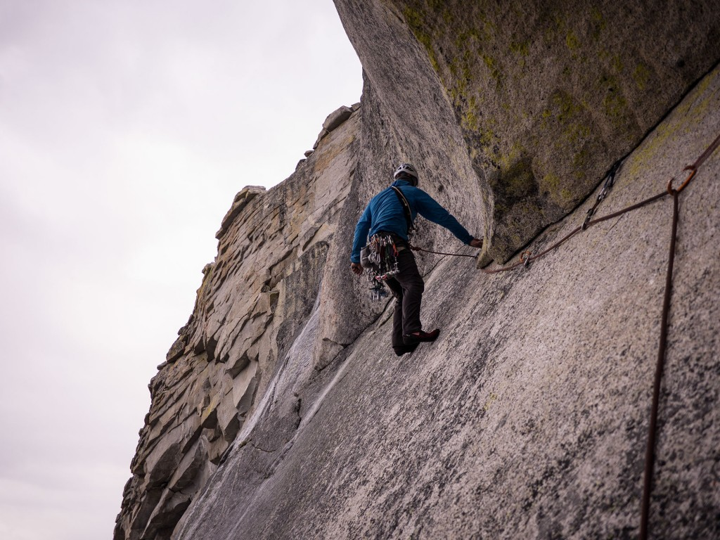 Not looking so psyched on the wet slab, but happy to be at the top!